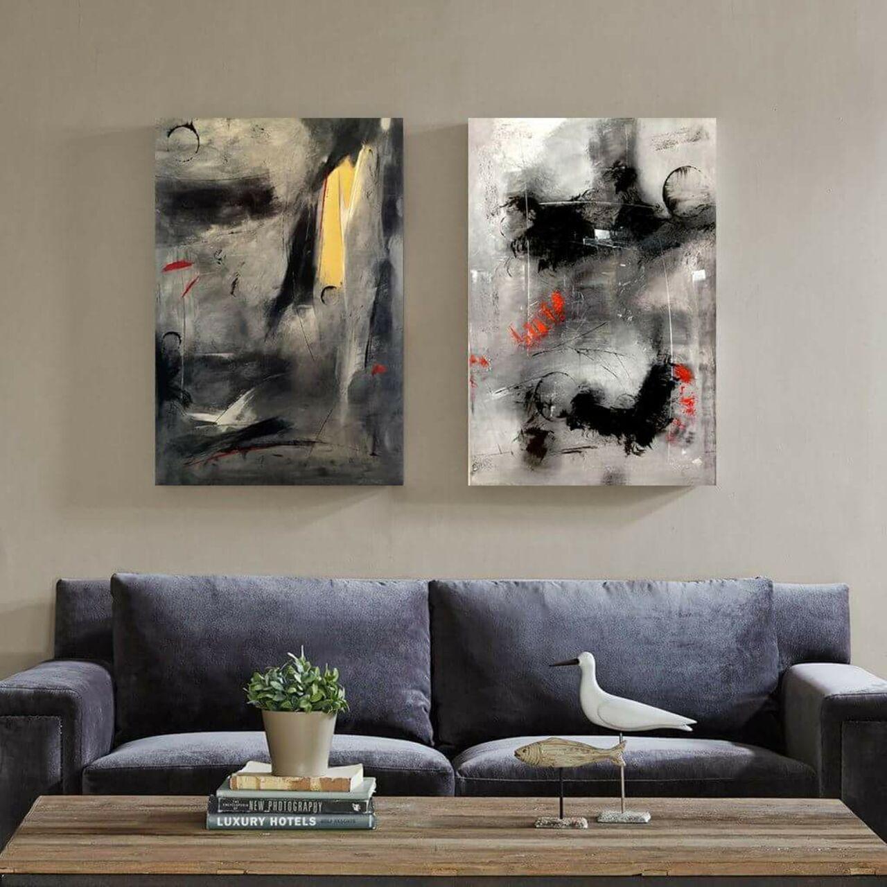 Sara Ezzair tableau diptyque abstrait