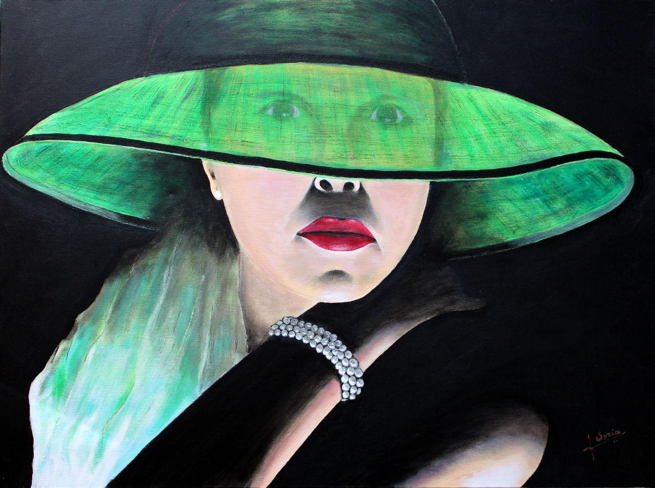 soria jose Femme au chapeau vert