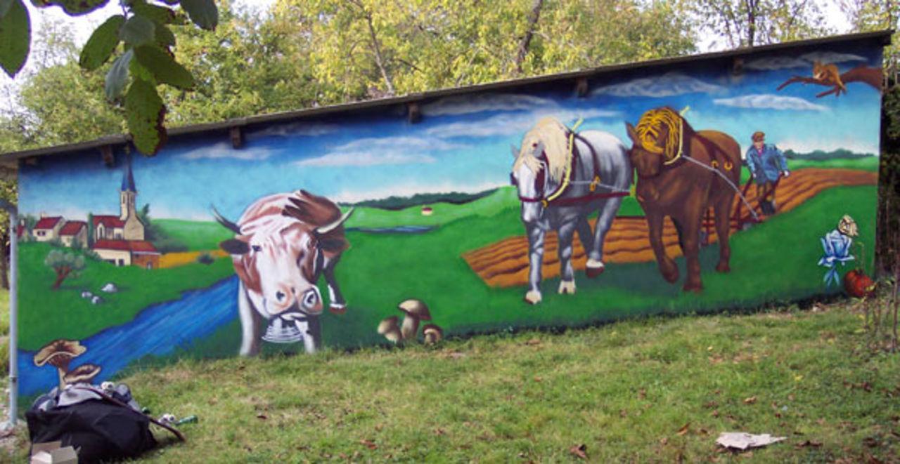stiankr oner Fresque sur le thème de la campagne