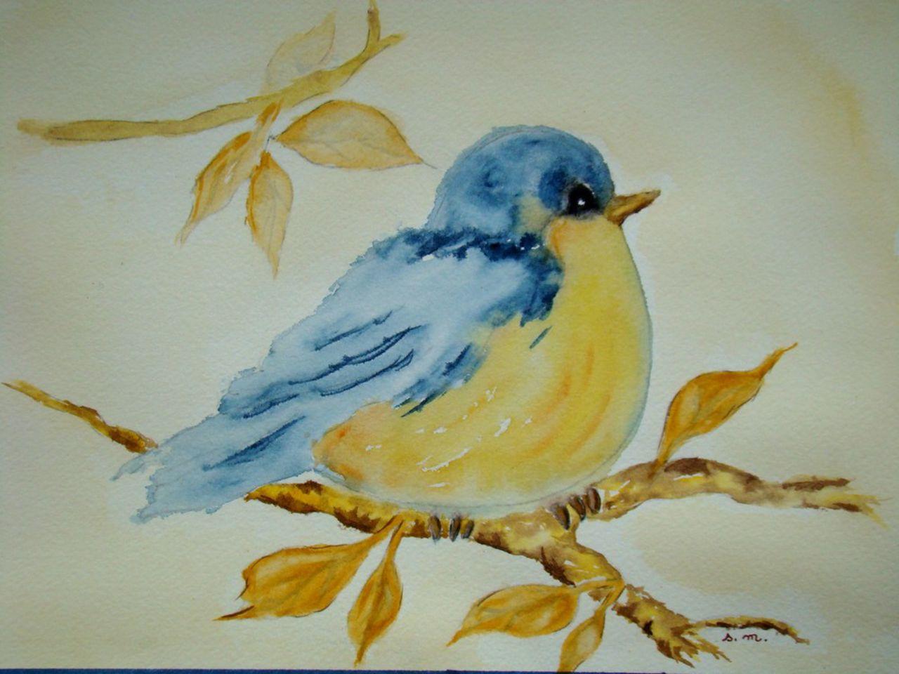 Gr Ne oiseau bleu à l 39 aquarelle sylviane morel