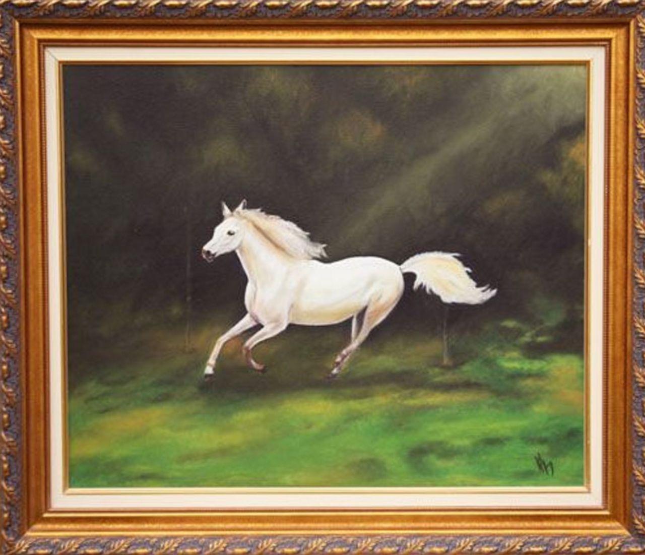 veronique AGUILLON Cheval blanc dans le près