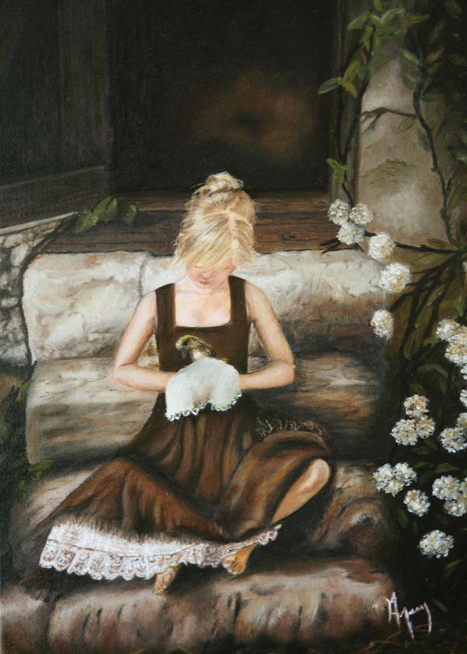 veronique AGUILLON La jeune fille sur les escaliers
