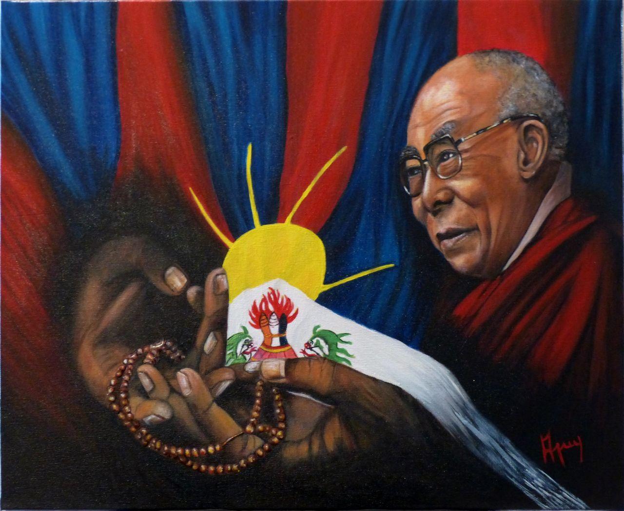 veronique AGUILLON les 3 symboles Dalaï Lama