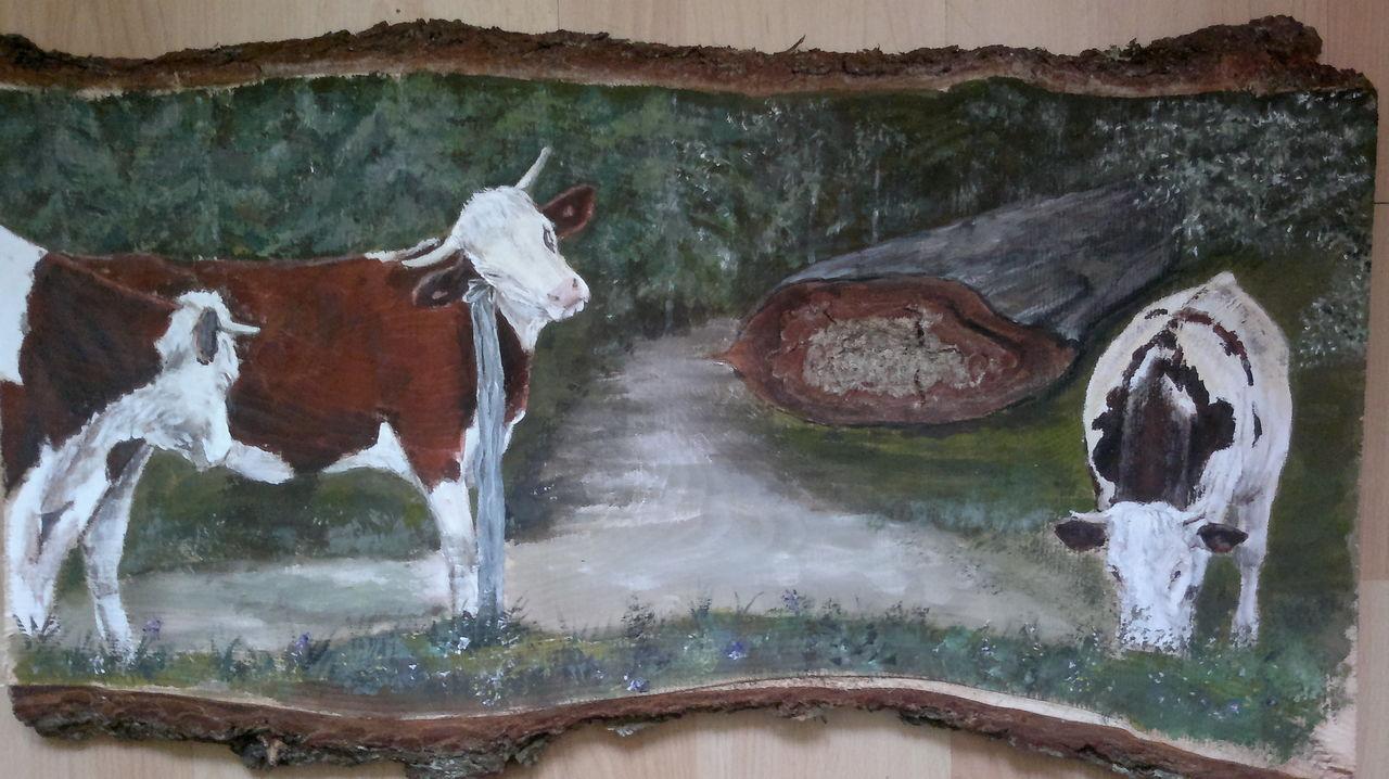 44 vache au piquet yolandedecomblesdenayves for Peinture acrylique sur bois brut