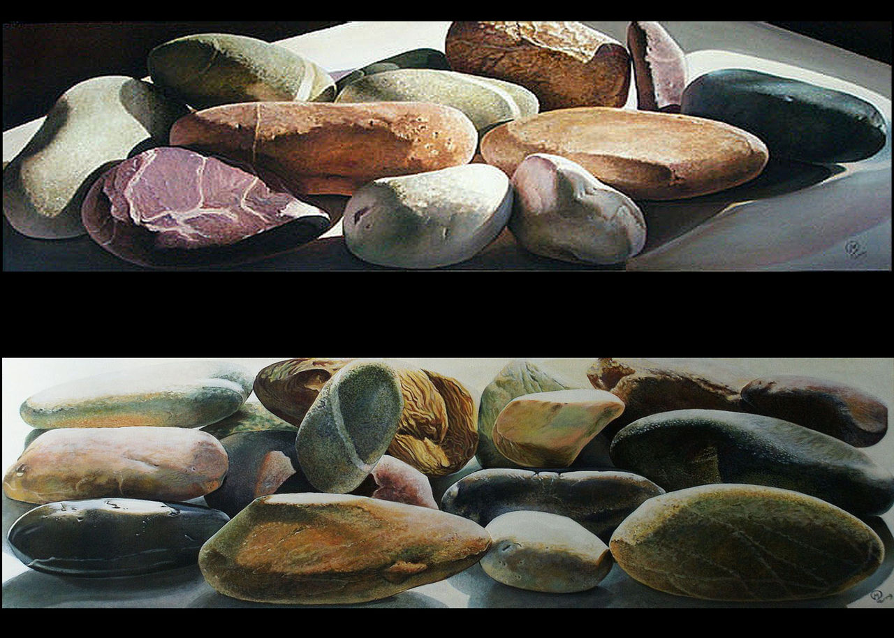 yves molac 2 tableaux  150x50  galets