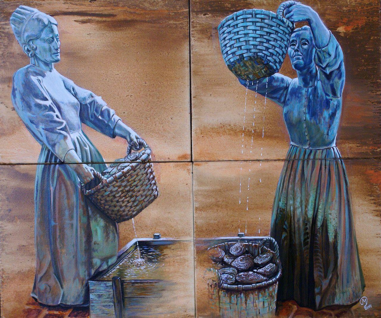 yves molac laveuses d huitres Cancale d après une sculpture en bronze
